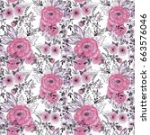 seamless watercolor floral... | Shutterstock . vector #663576046