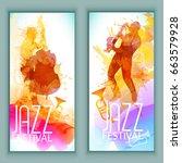 vector music poster templates... | Shutterstock .eps vector #663579928