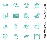 set of 16 training outline... | Shutterstock .eps vector #663581938