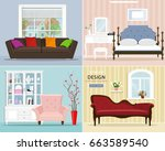stylish graphic room set ... | Shutterstock .eps vector #663589540