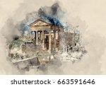 ancient ruins of tunisia.... | Shutterstock . vector #663591646