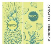 set of two exotic labels with... | Shutterstock .eps vector #663592150