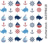 cute seamless nautical pattern... | Shutterstock .eps vector #663598618