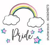 watercolor pride flag ... | Shutterstock .eps vector #663604873