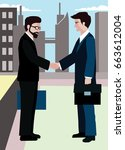 business people handshake... | Shutterstock .eps vector #663612004