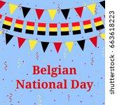 belgian flag bunting....   Shutterstock .eps vector #663618223