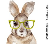 Stock photo watercolor portrait of rabbit hand drawn illustration funny hare with glasses 663628153