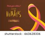 hepatitis awareness ribbon...   Shutterstock .eps vector #663628336