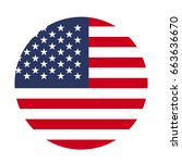 usa flag button | Shutterstock .eps vector #663636670