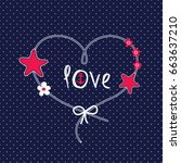 love card with heart with... | Shutterstock .eps vector #663637210