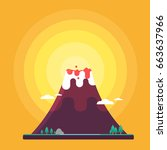 volcano flat cute style vector... | Shutterstock .eps vector #663637966