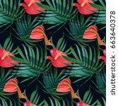 vector tropical flowers and... | Shutterstock .eps vector #663640378