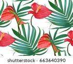 vector tropical flowers and... | Shutterstock .eps vector #663640390