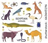 egyptian animals. vector...   Shutterstock .eps vector #663645196