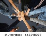 group of people holding hand... | Shutterstock . vector #663648019