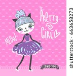 t shirt design for girls with... | Shutterstock .eps vector #663658273