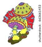 bright psychedelic mushrooms ...   Shutterstock .eps vector #663661453