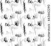 seamless pattern with poppies... | Shutterstock . vector #663662290