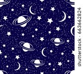 cosmic seamless pattern with...   Shutterstock .eps vector #663662824