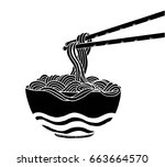 doodle noodle at bowl and stick.... | Shutterstock .eps vector #663664570