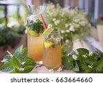 home drink of fresh  lemon ... | Shutterstock . vector #663664660