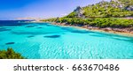 emerald green sea water and... | Shutterstock . vector #663670486