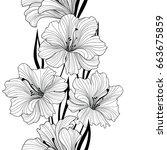 floral seamless pattern. flower ... | Shutterstock .eps vector #663675859