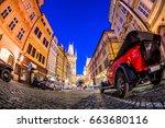 nighttime at celetna street ... | Shutterstock . vector #663680116
