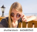 portrait woman fashion  | Shutterstock . vector #663680563