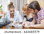 travel agent giving information ... | Shutterstock . vector #663685579
