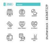line icons about resort.  | Shutterstock .eps vector #663687229
