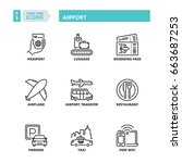 line icons about airport. | Shutterstock .eps vector #663687253