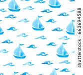 seamless sea pattern with blue... | Shutterstock .eps vector #663694588