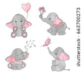 Stock vector set of cute cartoon baby elephants vector watercolor illustration 663700273