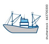 fishing boat isolated | Shutterstock .eps vector #663700300