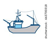 fishing boat isolated | Shutterstock .eps vector #663700318