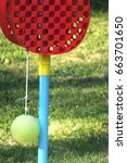 Small photo of Tether ball game equipment in a backyard