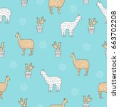seamless pattern with cute... | Shutterstock .eps vector #663702208