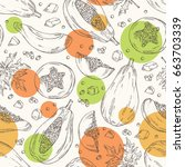 seamless pattern with papaya... | Shutterstock .eps vector #663703339