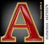 vector letter a from gold solid ... | Shutterstock .eps vector #663703378