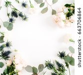 round frame wreath made of... | Shutterstock . vector #663706864