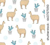 seamless lamas and cactus... | Shutterstock .eps vector #663707050