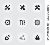 set of 9 editable tool icons....   Shutterstock .eps vector #663708898