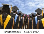 graduates in university degree... | Shutterstock . vector #663711964