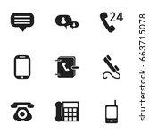 set of 9 editable phone icons....