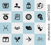 set of 16 editable mixed icons. ... | Shutterstock .eps vector #663715633