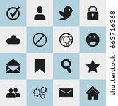 set of 16 editable web icons.... | Shutterstock .eps vector #663716368
