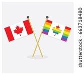 crossed original canada flag...   Shutterstock .eps vector #663718480