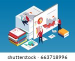 business team doing data... | Shutterstock .eps vector #663718996