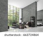 modern loft living room and... | Shutterstock . vector #663724864